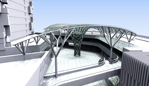 Free Form Glass Steel Structure In Gwanggyo Korea Ghdw
